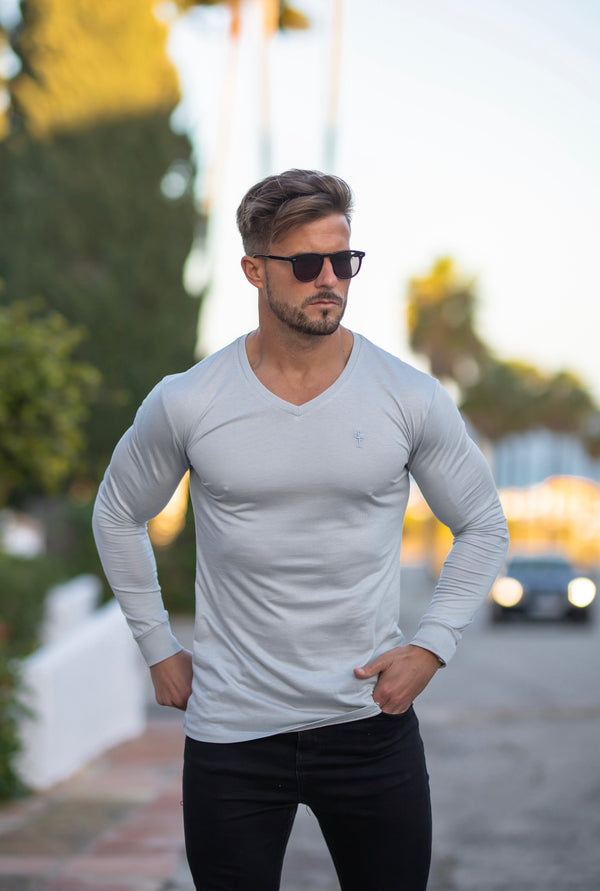 Father Sons Light Grey Bamboo V Neck Crew Long Sleeve - FSH588
