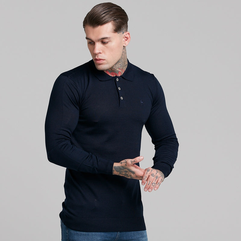 139af9e3 Father Sons Classic Navy Knitted Long Sleeve Polo Shirt - FSH178