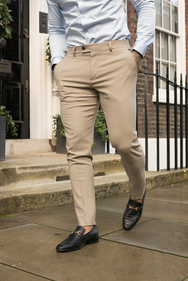 Father Sons Slim Formal Beige Stretch Trousers - FST003 (PRE ORDER 10TH DECEMBER)