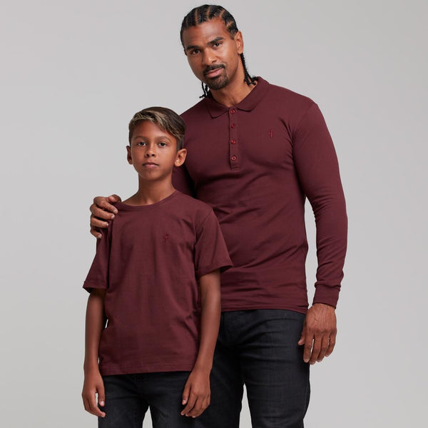 Father Sons Boys Classic Burgundy Crew - FSB024