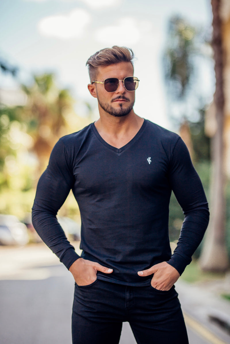 Father Sons Classic Black Long Sleeve V neck Crew with ribbed cuff - FSH408