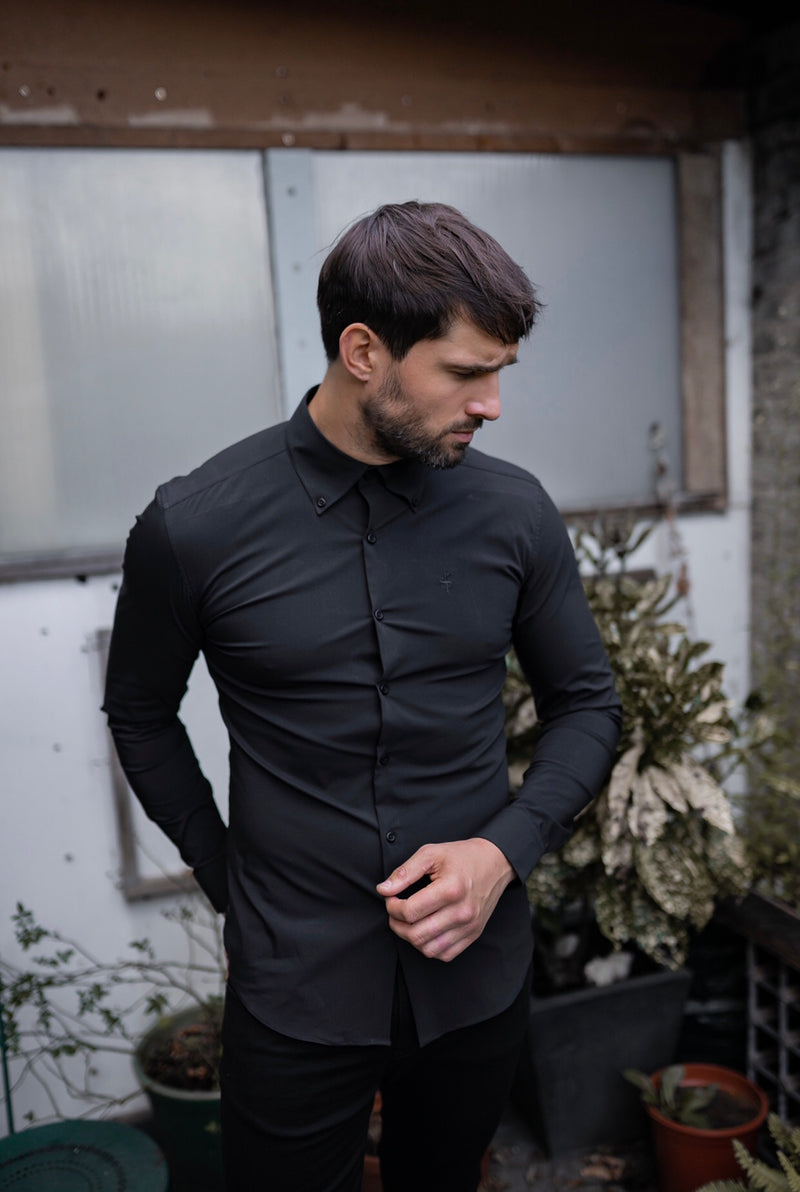 Father Sons Black Regular Stretch Shirt with Button Down Collar and Black Embroidery - FS590