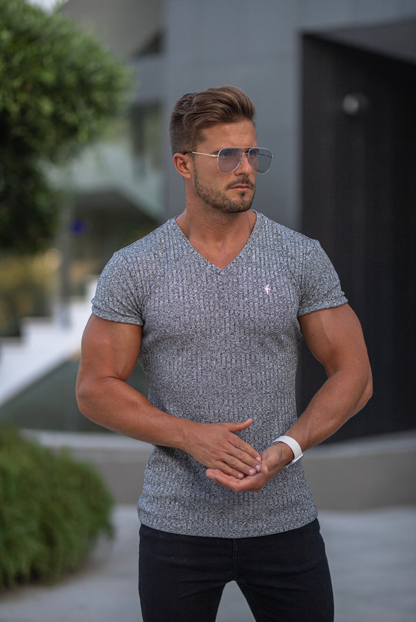 Father Sons Classic Grey / Silver V Neck Ribbed Crew - FSH491