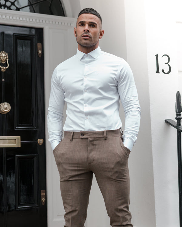Father Sons Slim Formal Beige & Black Check Stretch Trousers - FST002 (PRE ORDER 18TH DECEMBER)
