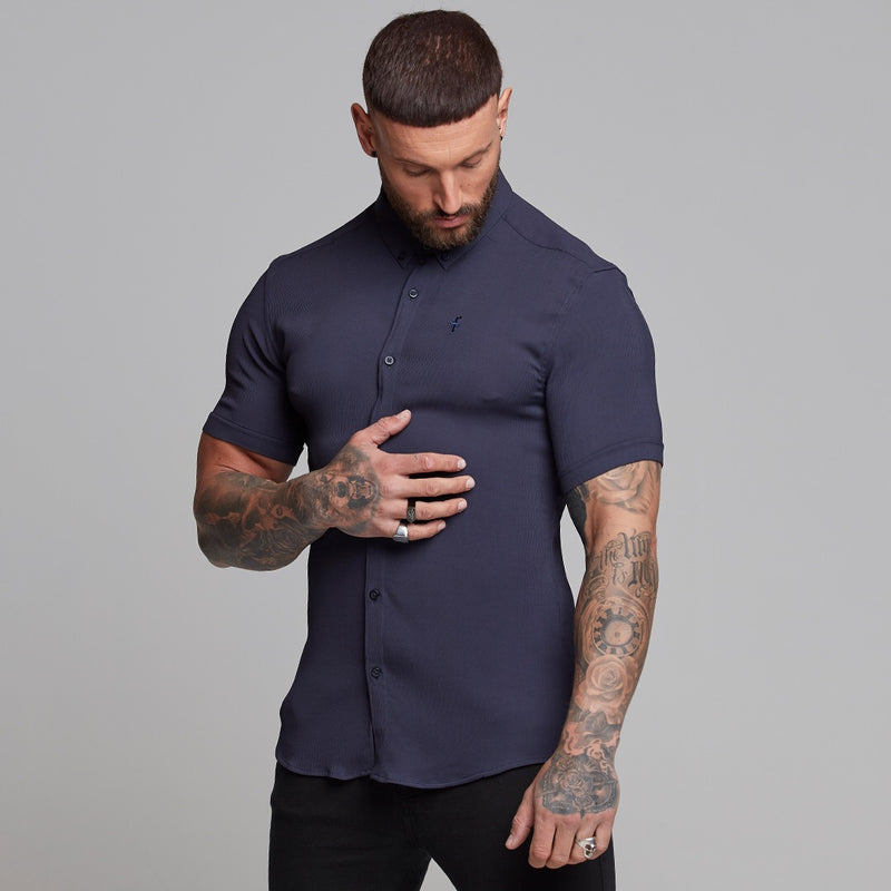 Father Sons Super Slim Stretch Ribbed Navy Short Sleeve - FS442