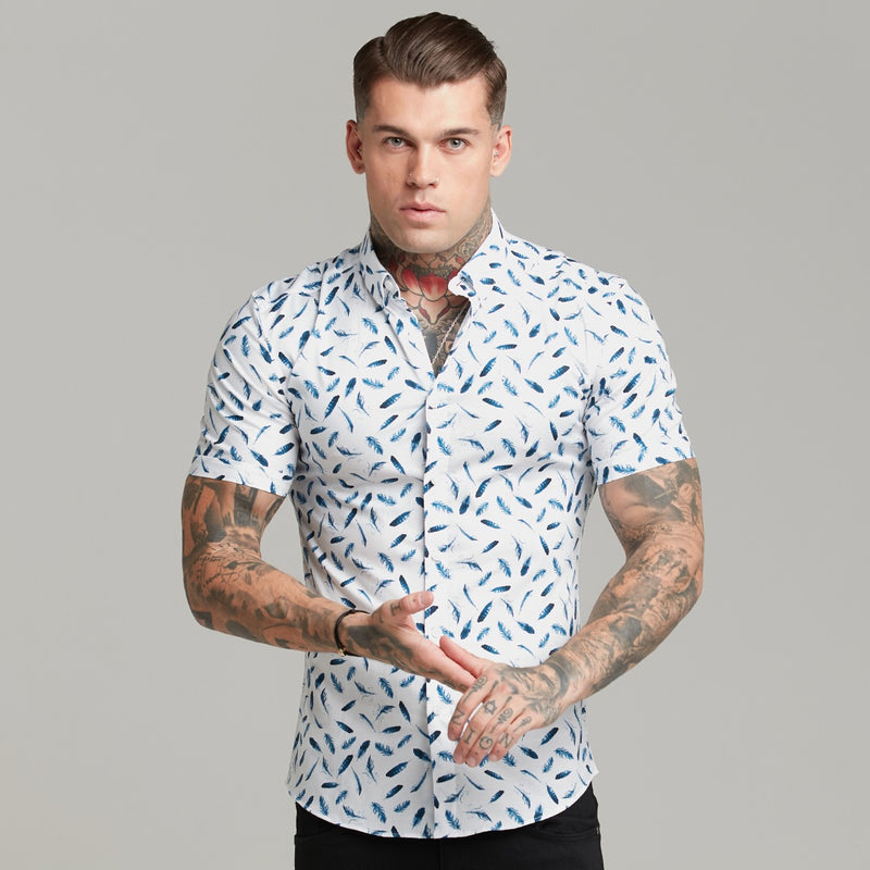 Father Sons Super Slim Stretch Blue Feather Print Short Sleeve Button Down - FS560