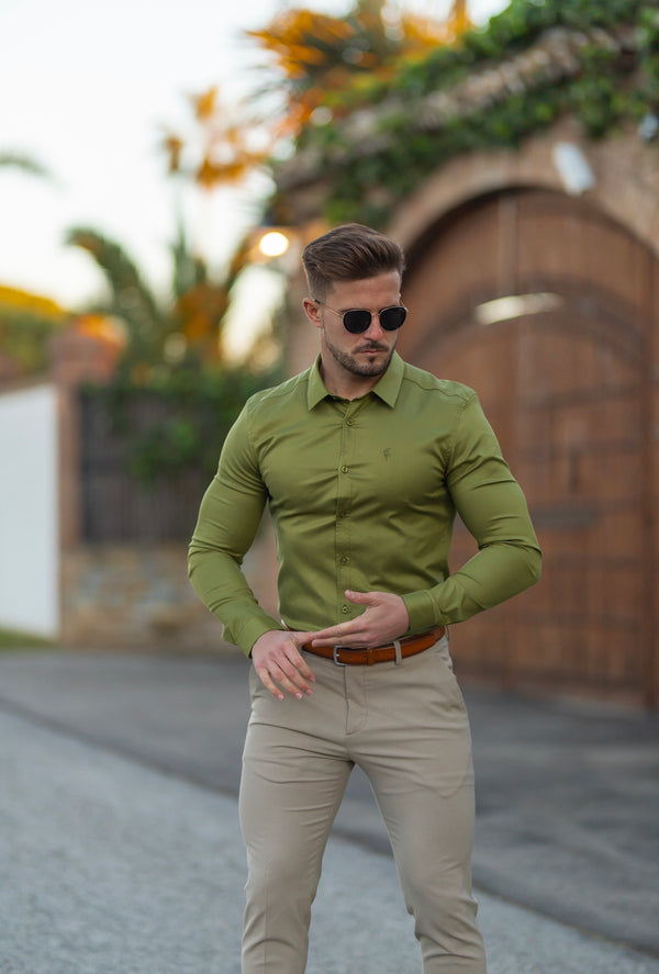 Father Sons Super Slim Luxe Ultra Stretch Classic Green Long Sleeve -  FS741