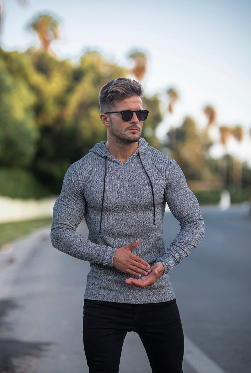 Father Sons Classic Grey / Black Ribbed Knit Hoodie Jumper - FSH509 (PRE ORDER 21ST APRIL)