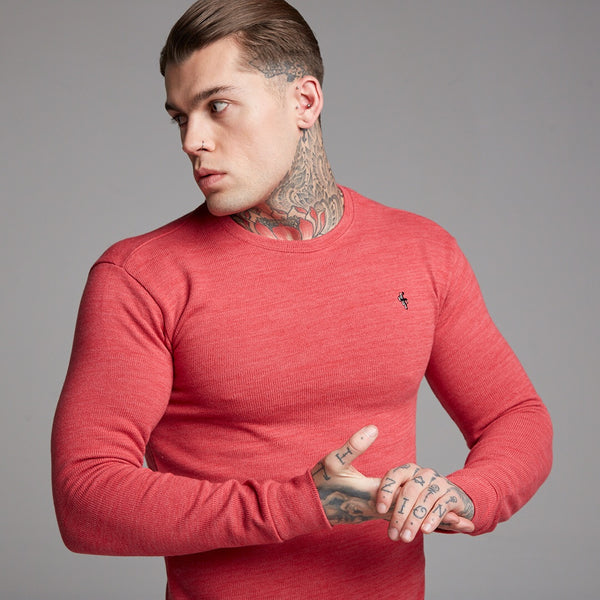Father Sons Classic Red Marl Super Slim Jumper - FSH231