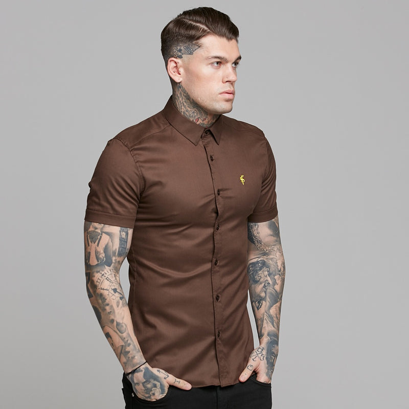 Father Sons Super Slim Luxe Ultra Stretch Brown Short Sleeve -  FS534