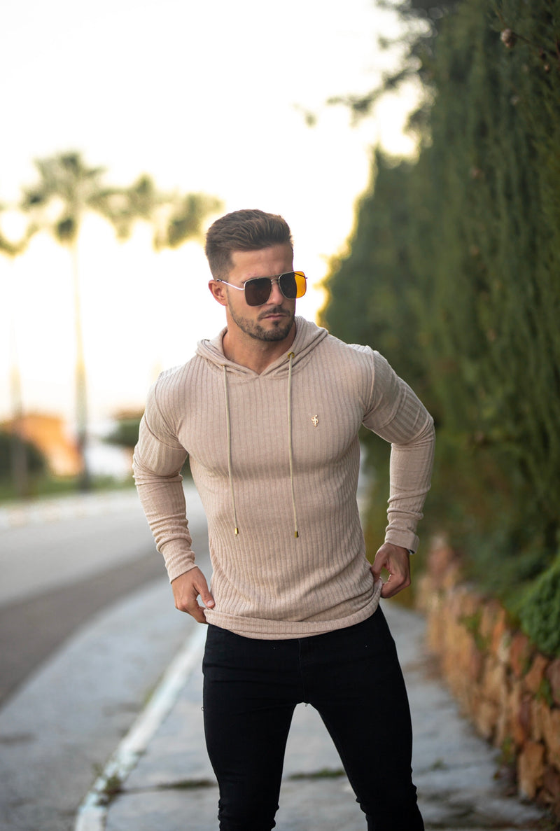 Father Sons Classic Beige & Gold Ribbed Knit Hoodie Jumper - FSH541