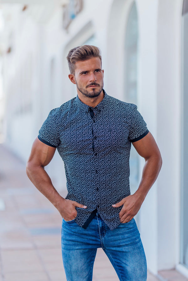 Father Sons Super Slim Stretch Black & White Dandy Print Short Sleeve FS416