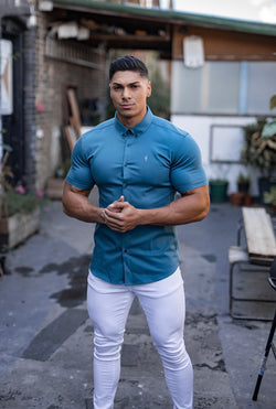 Father Sons Super Slim Stretch Teal Denim Short Sleeve - FS328