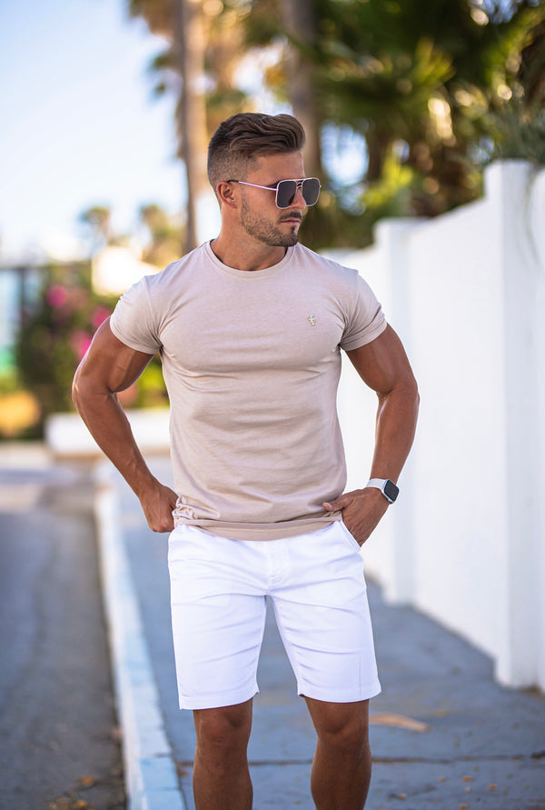 Father Sons Slim Fit White Sateen Shorts - FSH494