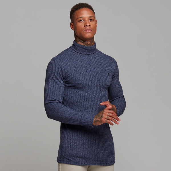 baf145862d73d1 ... Father Sons Classic Navy Ribbed Knit Roll-neck Jumper - FSH117