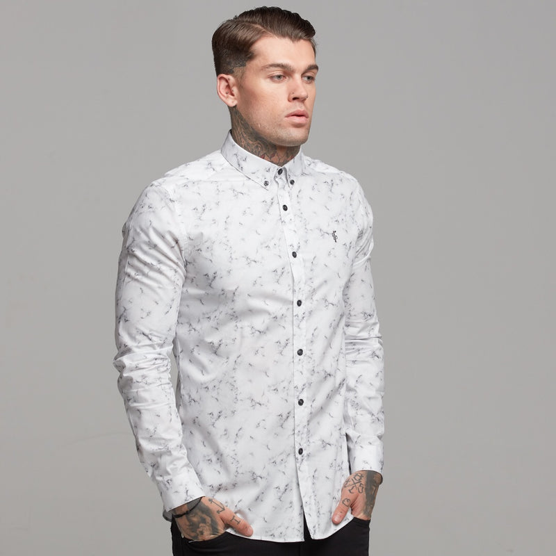 Father Sons Super Slim Stretch Marble Print Long Sleeve - FS434
