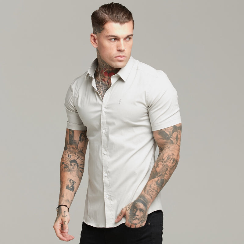 Father Sons Super Slim Stretch Classic Light Beige Short Sleeve  - FS559