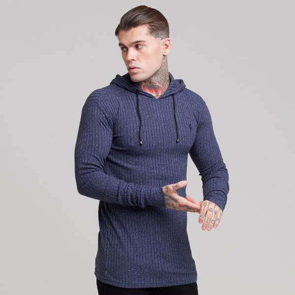 Father Sons Classic Navy Ribbed Knit Hoodie Jumper - FSH220
