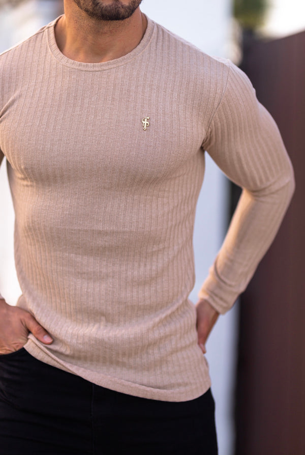 Father Sons Classic Beige Ribbed Knit Jumper With Gold Emblem - FSH535