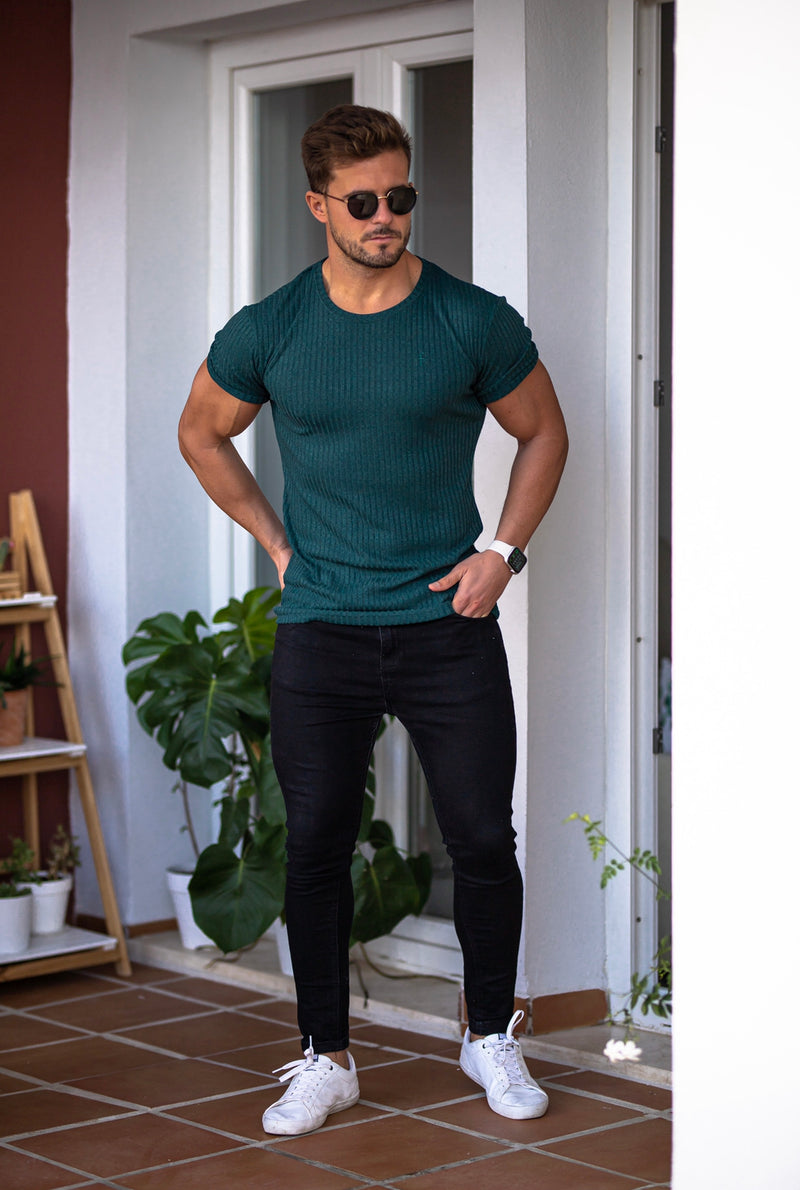 Father Sons Classic Forest Green Ribbed Knit Super Slim Short Sleeve Crew - FSH612