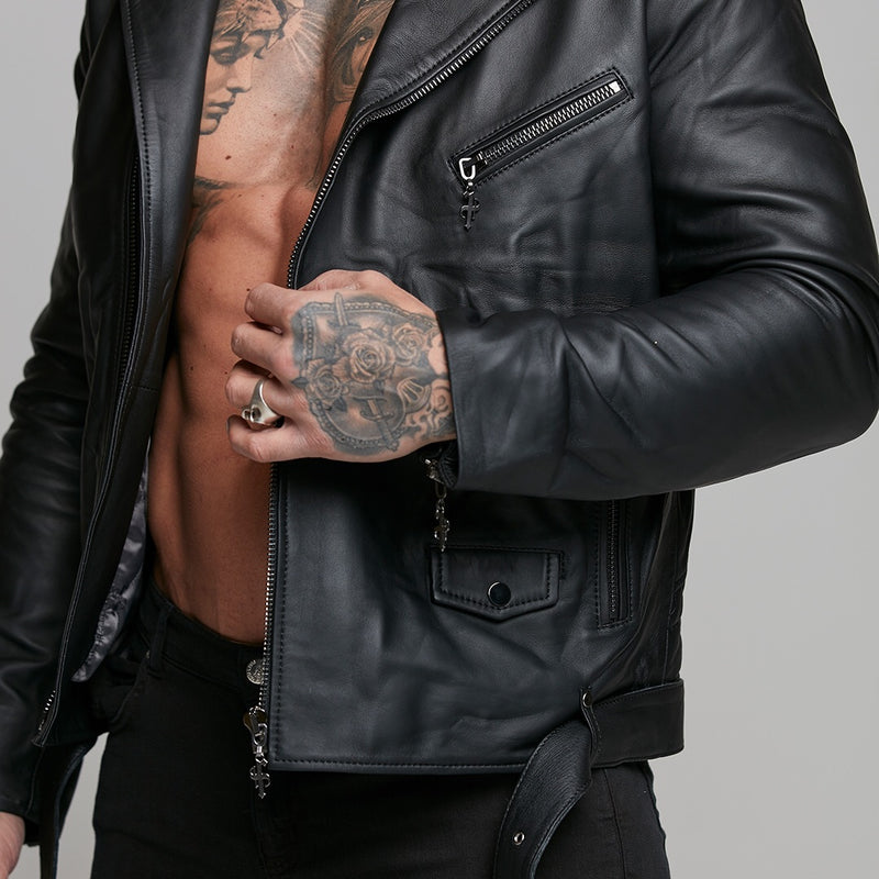 Father Sons Black Leather Jacket with Belt Detail - FSH313