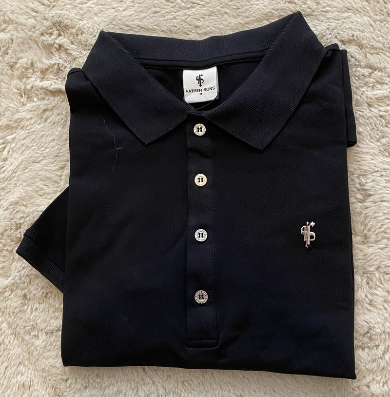 Father Sons Classic Black Polo Shirt with Silver Metal Emblem Decal & Buttons - FSH459