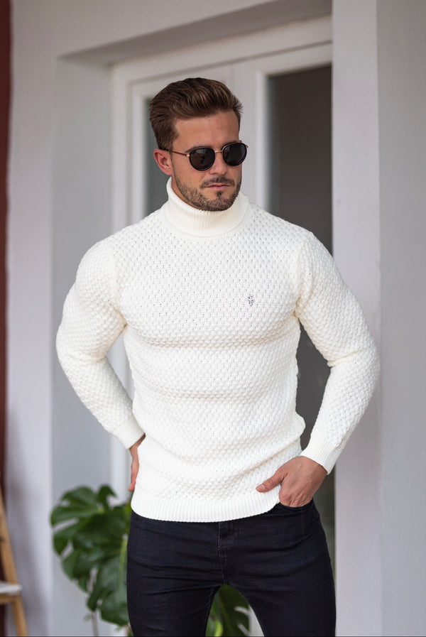 Father Sons Cream Knitted Roll Neck Weave Super Slim Jumper With Metal Decal - FSJ026