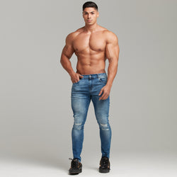 Father Sons Distressed Double Ripped Slim Stretch Blue Jeans - FSH344