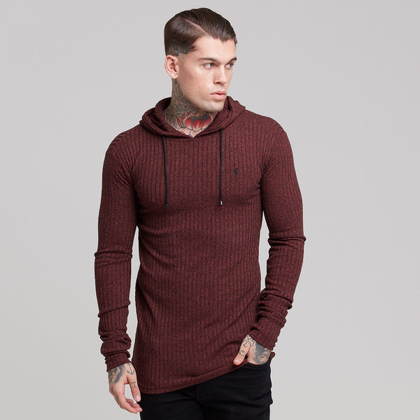 Father Sons Classic Burgundy Ribbed Knit Hoodie Jumper - FSH219
