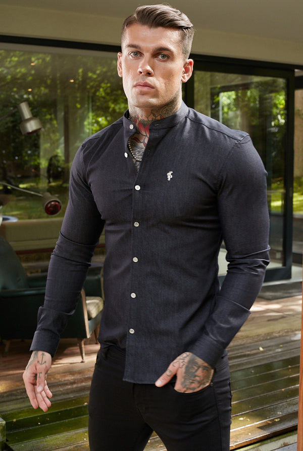 Father Sons Super Slim Stretch Charcoal Denim Long Sleeve Grandad collar with Metal Buttons and Decal Emblem - FS709