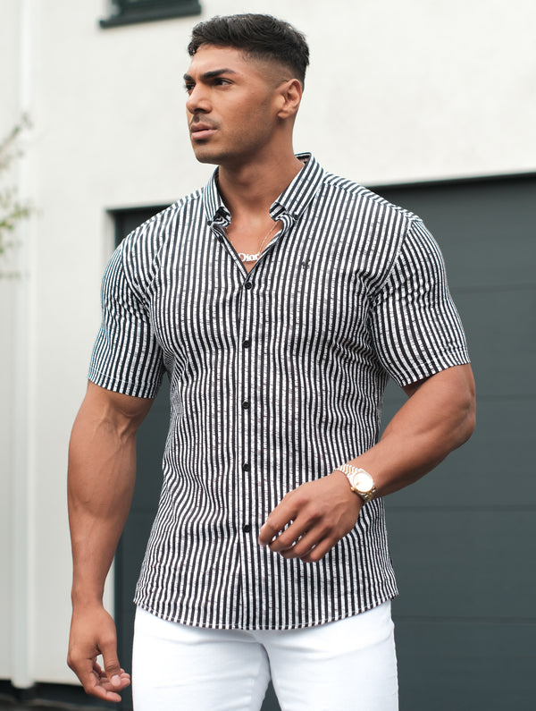 Father Sons Super Slim Stretch Black & White Stripe Drip Print Short Sleeve - FS700