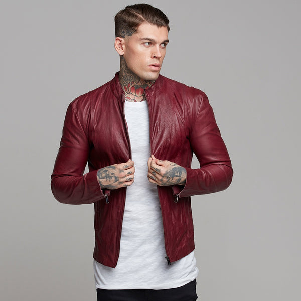 Father Sons Oxblood Lambs Leather Jacket - FSH257