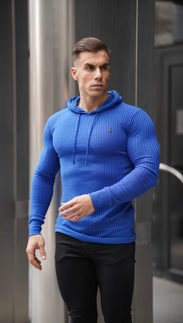 Father Sons Classic Royal Blue Ribbed Knit Hoodie Jumper With Black Emblem - FSH597