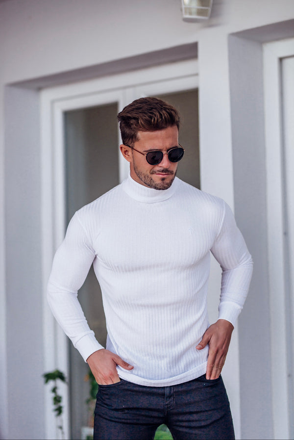 Father Sons Classic White Ribbed Knit Roll-neck Jumper - FSH592 (PRE ORDER 16TH DECEMBER)