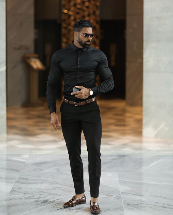 Father Sons Slim Formal Black Stretch Trousers - FST001 (PRE ORDER / DISPATCH DATE 29TH OCTOBER)
