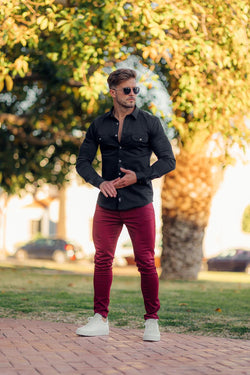Father Sons Slim Stretch Burgundy Sateen Trousers - FSH598