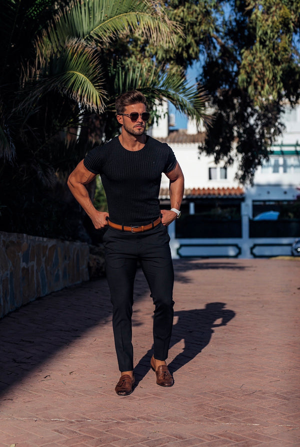 Father Sons Slim Formal Black Stretch Trousers - FST001