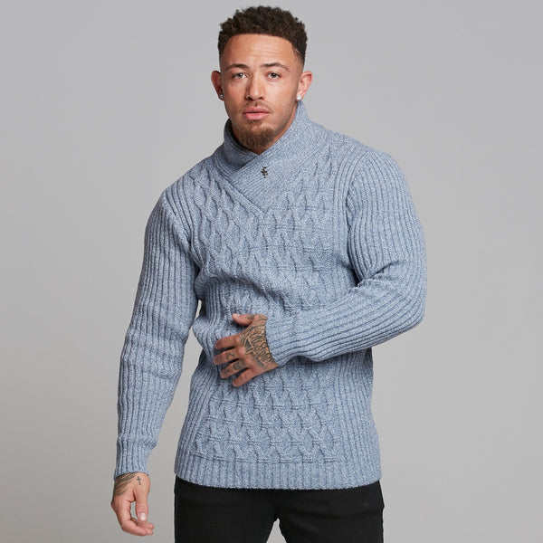Father Sons Chunky Cable Knit Blue and White Jumper - FSJ006