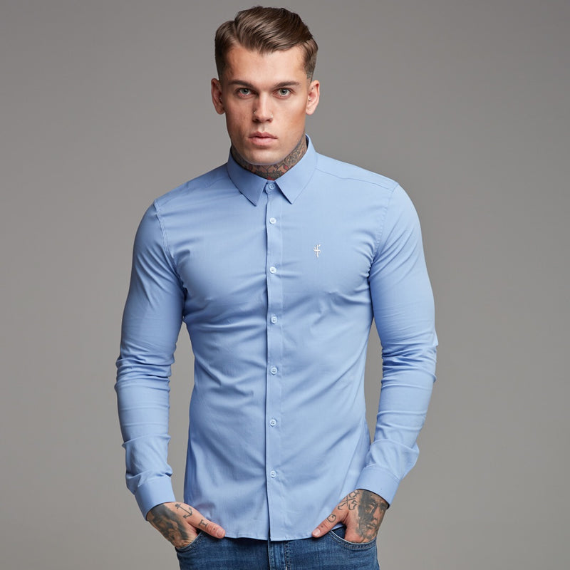 Father Sons Super Slim Ultra Stretch Classic Light Blue Shirt - FS356