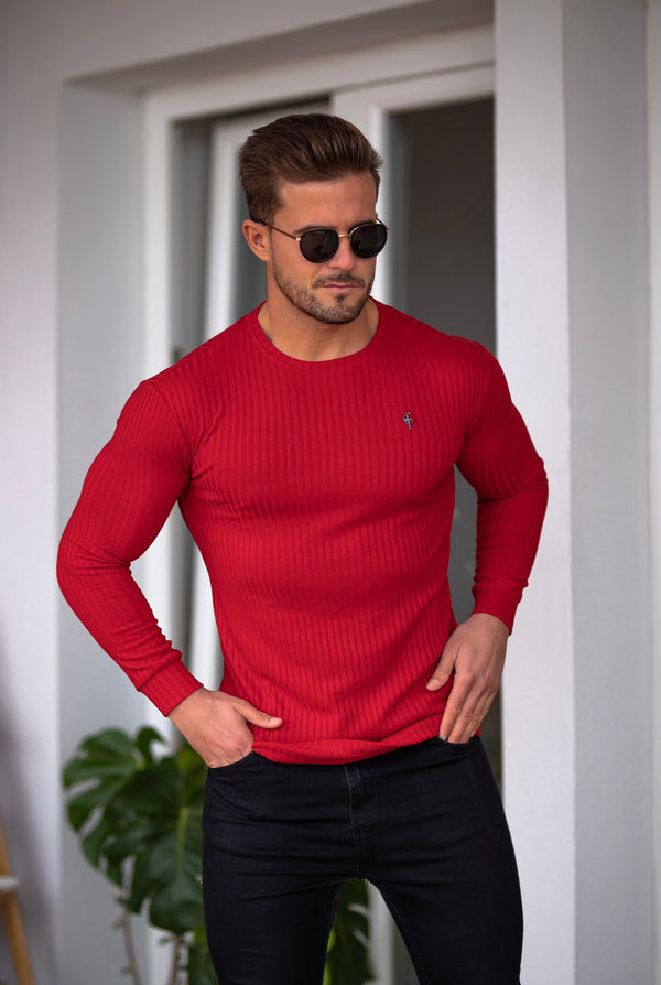 Father Sons Classic Red Ribbed Knit Jumper With Black Metal Emblem - FSH613
