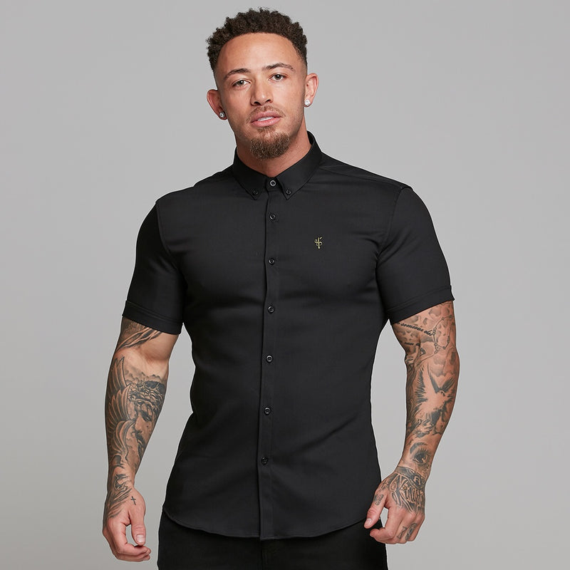 Father Sons Super Slim Ultra Stretch Classic Black Short Sleeve (Khaki Embroidery) -  FS481
