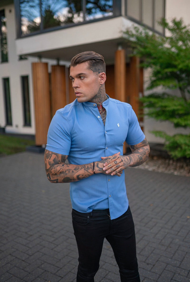 Father Sons Super Slim Stretch Light Blue Denim Short Sleeve Grandad collar with Metal Buttons and Decal Emblem - FS718