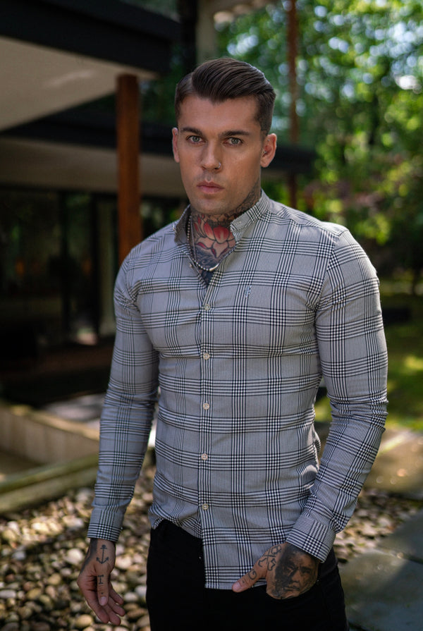 Father Sons Super Slim Stretch Prince Of Wales White and Black Check Long Sleeve Grandad Collar with Metal Buttons and Emblem- FS733 (PRE ORDER / DISPATCH DATE 10TH OCTOBER)