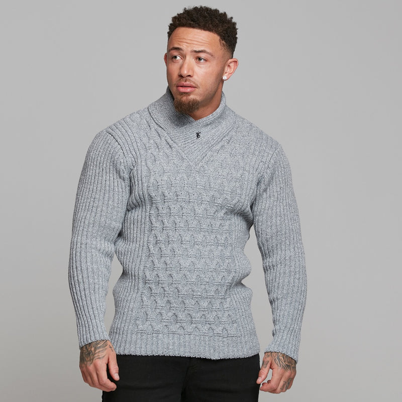 Father Sons Chunky Cable Knit Grey and White Jumper - FSJ005