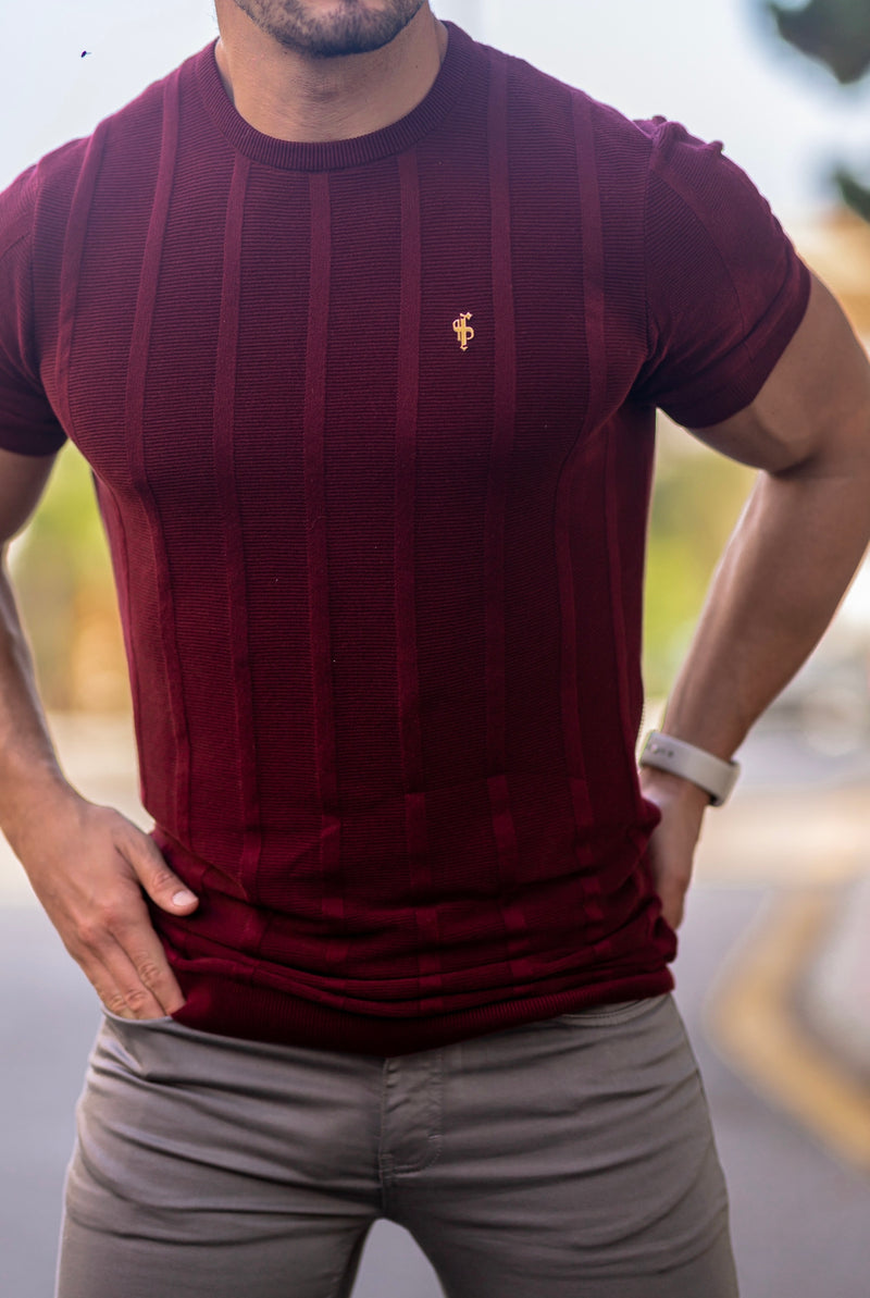 Father Sons Classic Short Sleeve Burgundy Knitted Wide Rib Crew with Gold Emblem - FSH563