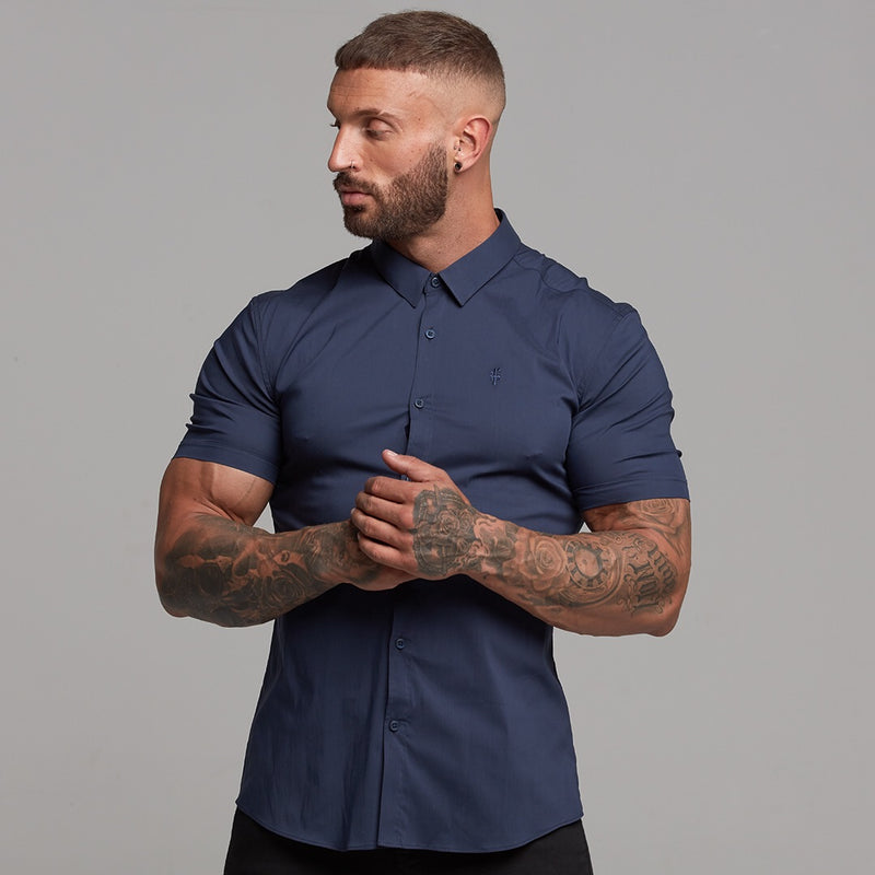 Father Sons Super Slim Stretch Classic Navy Short Sleeve - FS181