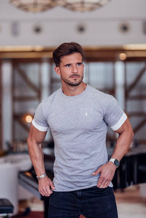 Father Sons Classic Light Grey Crew T Shirt with FS Elastic Sleeve Branding - FSH624 (PRE ORDER 23RD APRIL)