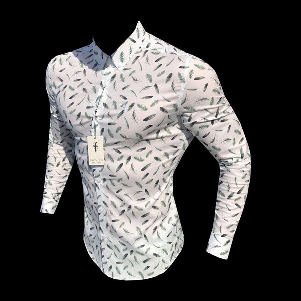 Father Sons Super Slim Stretch Khaki Feather Print Button Down - FS596