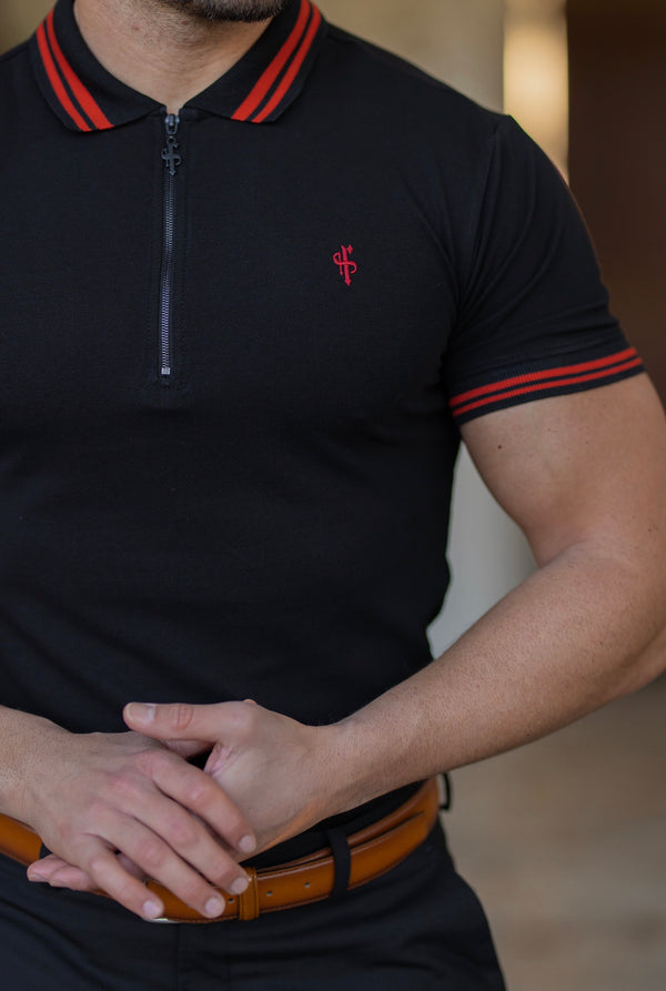 Father Sons Classic Black / Red Collar and Sleeve Contrast Polo Short Sleeve - FSH619 (PRE ORDER 18TH MARCH)