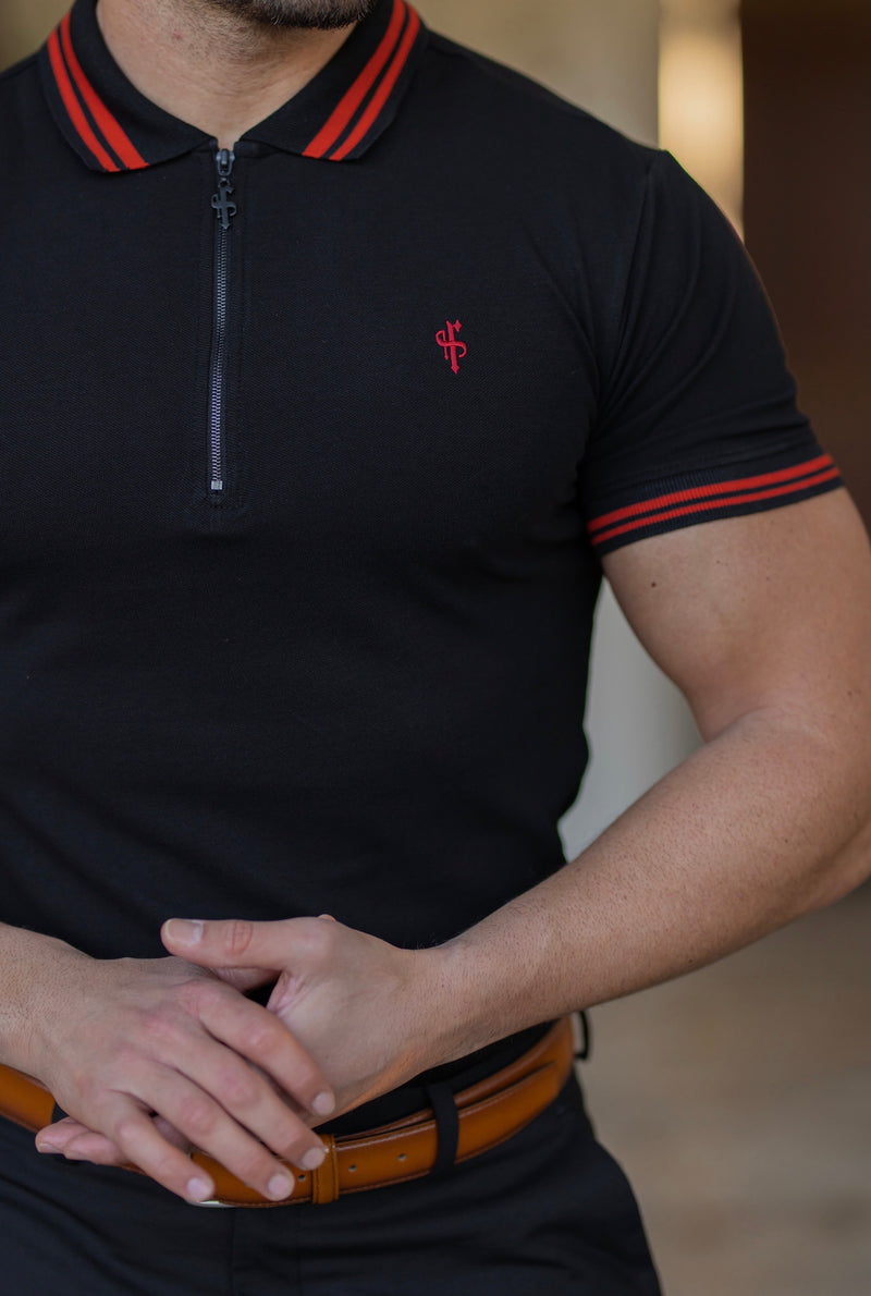 Father Sons Classic Black / Red Collar and Sleeve Contrast Polo Short Sleeve - FSH619